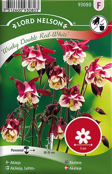 Akeleie 'Winky Double Red & White' - Aquilegia